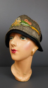 Vintage 1920s Metallic Ribbon Embroidery Cloche Hat, Black Satin, 21 to 22 inch head