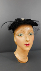 Vintage 1950s Black Velvet Hat with Feather, Black Satin and veil