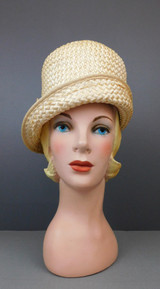 Vintage Tall Ivory Straw 1960s Hat, Curved brim Men's style