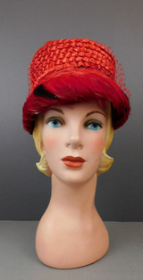 Vintage Red Straw Floral & Feathers Hat 1960s Valerie Modes