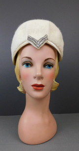 Vintage Ivory Plush Felt Hat with Beads and Rhinestones, 1960s, 22 inch head