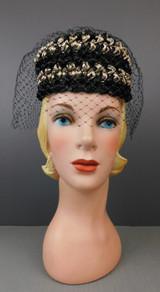 Vintage Black & Brown Loopy Straw Raffia Hat with Veil, 1960s