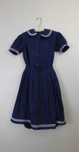Antique Edwardian Navy Blue Swimsuit, 2 Piece Wool Vintage Bathing suit Jumper with Skirt