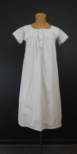 Antique White Cotton Nightgown XS 30 bust,1900s with Red Initials