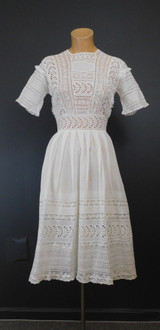 Vintage Edwardian Lace Dress, small White Cotton, 32 inch Bust, Teen Girl