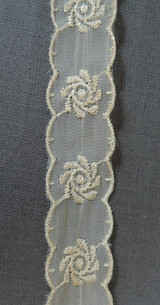 Ivory Embroidered Sheer Nylon Trim, Vintage 1950s, 7/8 inch, 5-1/2 yards long