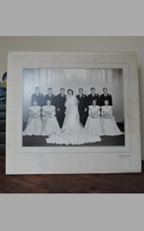 Vintage 1940s Wedding Portrait - Bridal Party Photo in Art Deco Cardboard Easel Frame