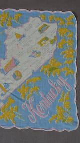 1950s Kentucky State Hankie, Vintage Novelty Print Hankie, 1950s Kentucky Map
