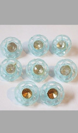 Vintage 8 Vintage Pale Blue Clear Plastic buttons with Rhinestone centers, 1940s 1950s 1/2 inch
