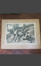Vintage 1900s Photo Family in swimsuits camping picnic in the woods 7x9 inches Cabinet Card NJ