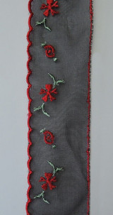 Vintage 1950s  Black Chiffon Trim with Red Embroidered Flowers  4-1/2 yards