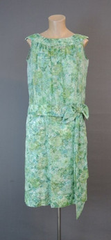 Vintage 1960s Fitted Dress & Sheer Blousey Top, Green Floral Chiffon, 35 inch bust