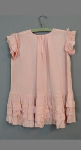Vintage 1930s Little Girl's Pleated Peach Crepe Dress