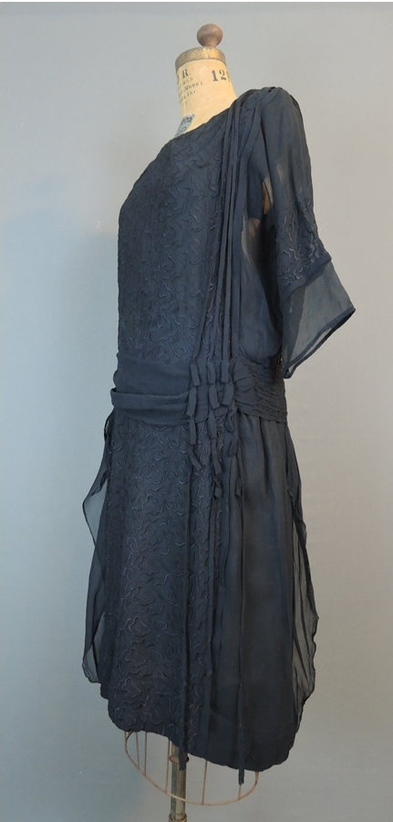 Vintage 1920s Dress Embroidered Black Chiffon, 34 bust, some issues
