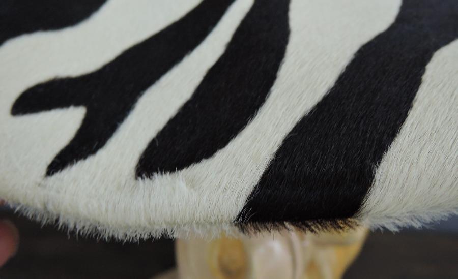 Vintage Hat Wide Brim Black & White Fur, Zebra Print, fits 21 inch head,1960s
