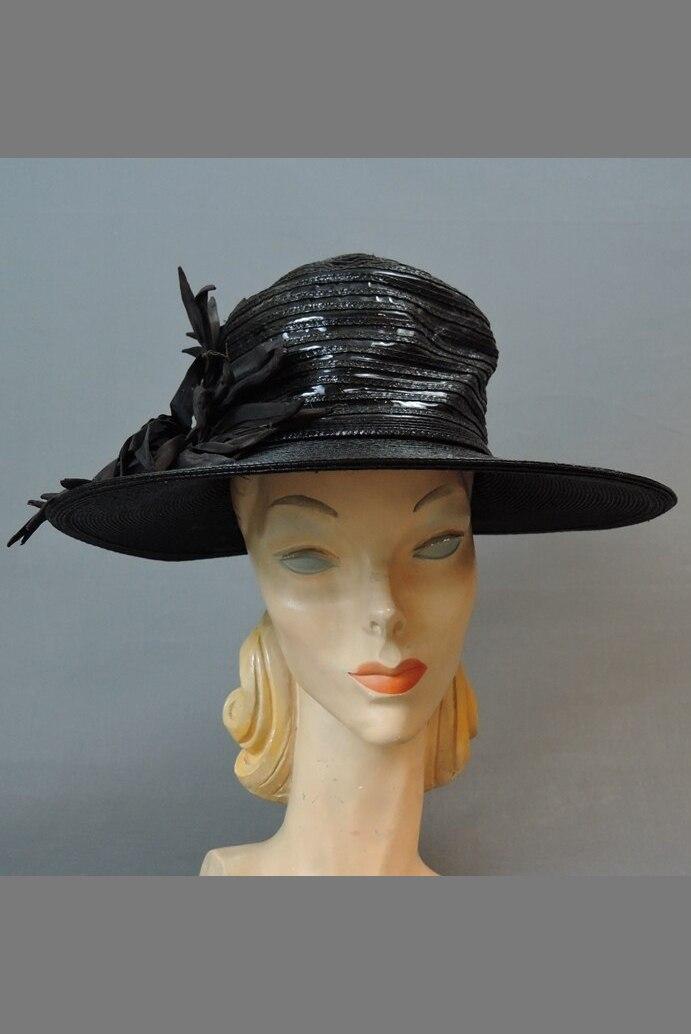 Vintage Wide Brim Hat, 1940s Straw & Shiny Vinyl, fits 21 inch head