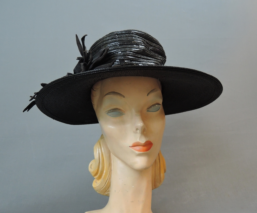 Vintage Wide Brim Hat, 1940s Straw & Shiny Vinyl, fits 21 inch head
