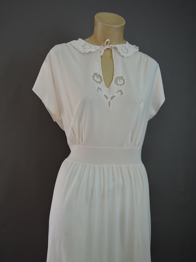 Vintage Pink Nylon Nightgown with Short Sleeves, 40 bust, 1950s