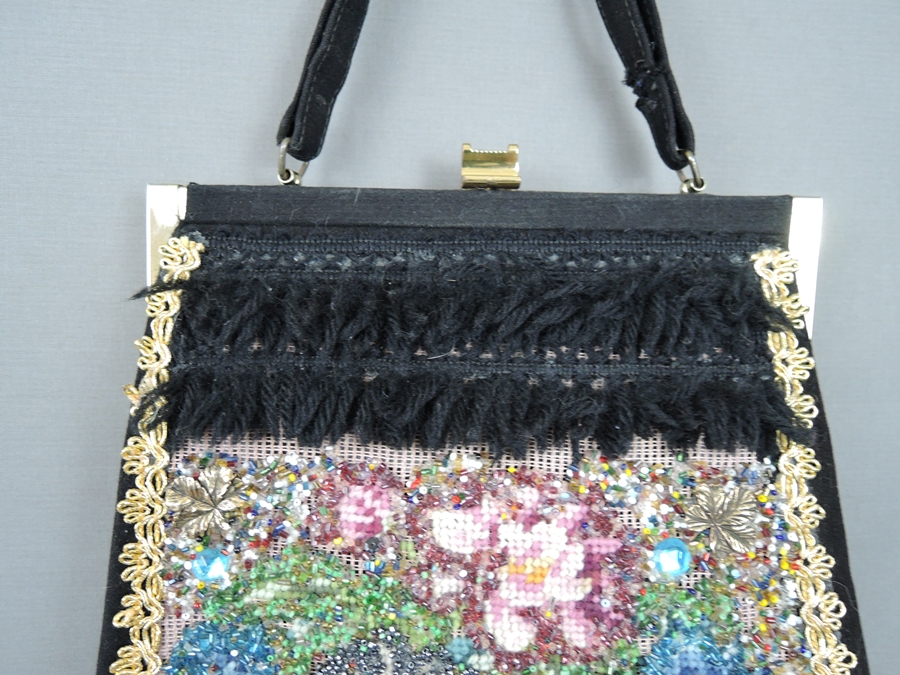 Vintage Decorated Purse, Beaded Needlepoint with Gold Trim & Fringe, 1960s