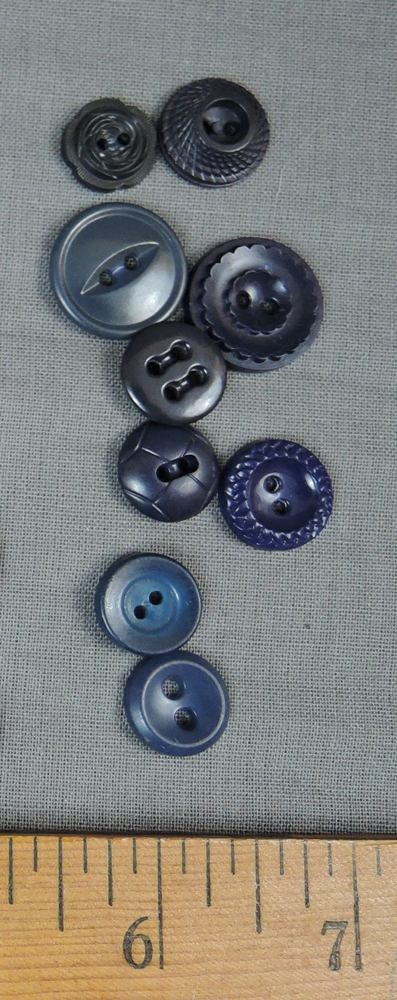 Dark Blue Vintage Buttons, Several Styles 1940s 1950s Plastic Dress button lot