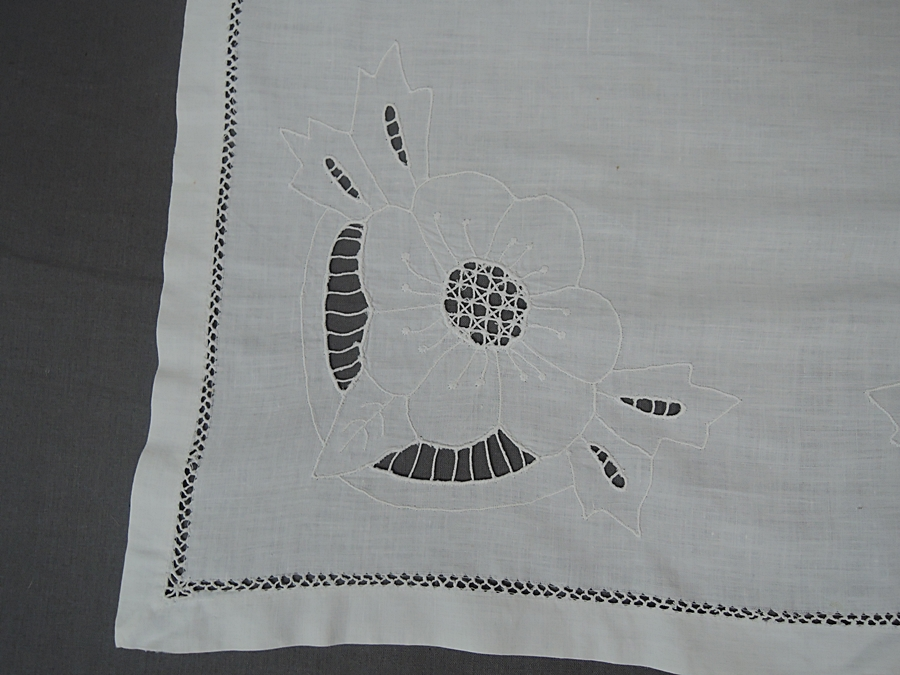 Vintage Embroidered 21x22 inch Linen Doily, Topper, Hand made 1930s or earlier