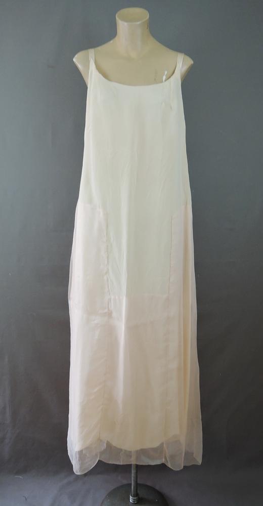 Vintage 1920s Boue Soeurs Peach Silk Slip, Chiffon & Crepe Taffeta, 36 bust