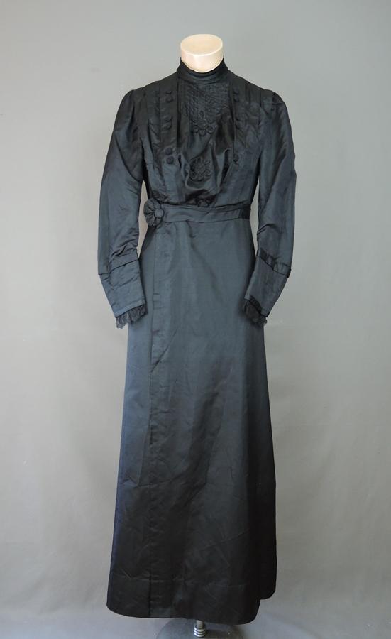 Vintage 1910s Black Silk Dress, fits 34 Bust, Antique Edwardian Titanic Era