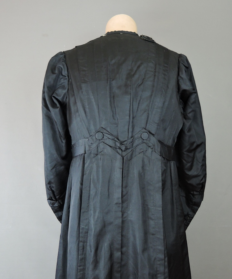 Vintage 1910s Black Silk Dress, fits 34 Bust, Antique Edwardian Titanic Era