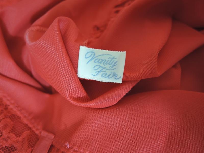 Vintage Red Nylon Slip Sheer Pleats, 34 TALL bust Vanity Fair 1960s, 4 inch wide Crystal Pleats