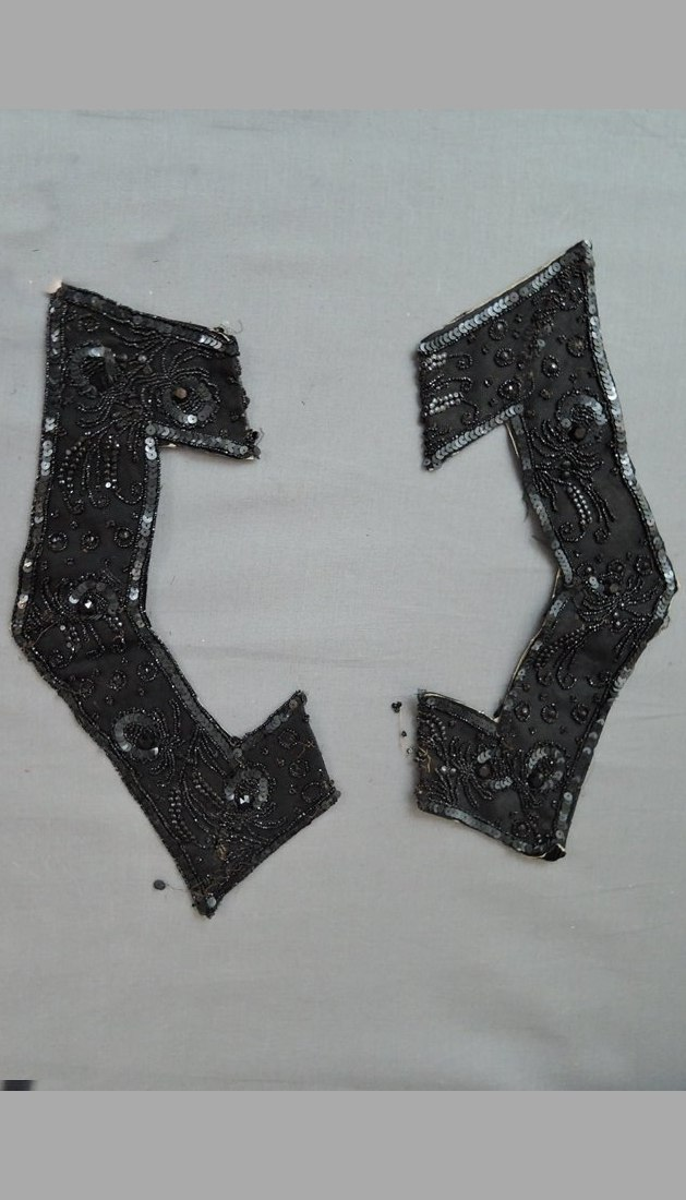 2 Pieces of Beaded Victorian Trim, Black Silk with Sequins and Black Glass Beads