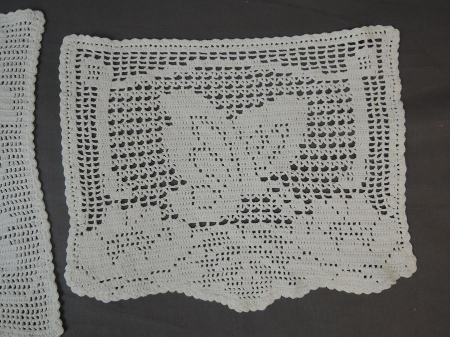 2 Vintage Crochet Doilies Flower Basket & Butterfly, 1940s handmade