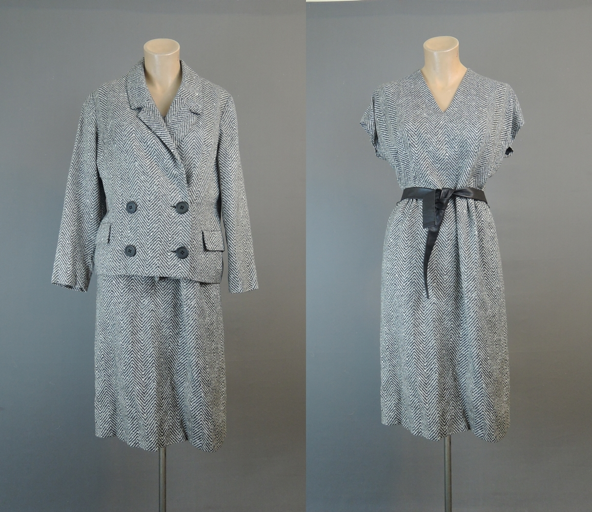 Vintage 1960s Black Dress & Jacket Suit, 36 Bust, Black and White