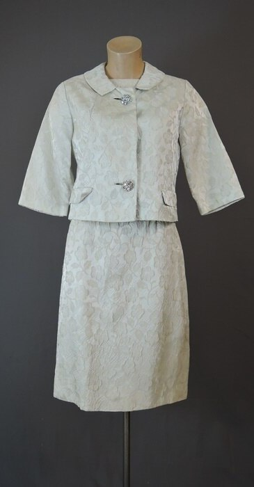 Vintage 1960s Ivory Floral Brocade Dress and Jacket Set by Rona, 34 bust, 25 waist