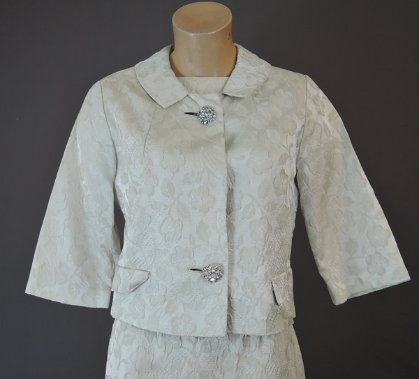 1960s Ivory Floral Brocade Dress and Jacket Set by Rona, 34 bust, 25 waist