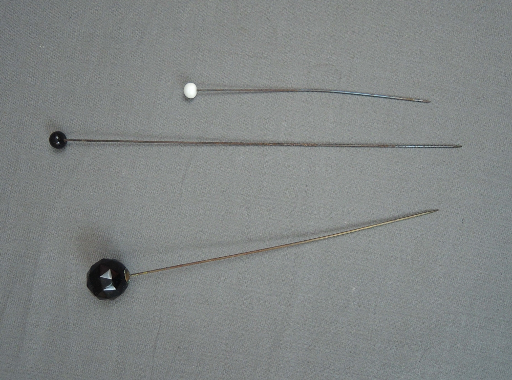Vintage Hat Pins 3 Long Antique 1900s Black & White, 6 to 10 inches long