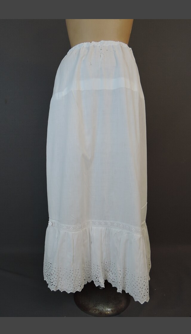 Vintage White Eyelet Edwardian Petticoat Slip, up to 32 inch waist, AS IS with issues