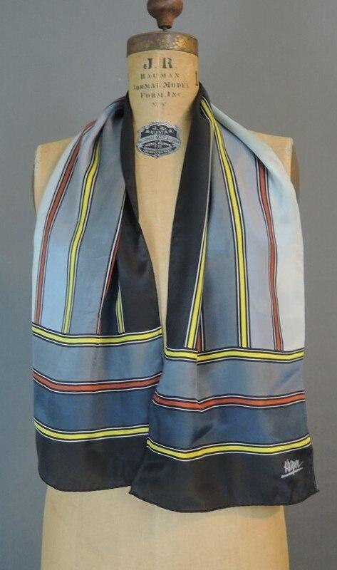 Vintage Striped Silk Scarf, Grey & Black by Kasper, 47x10 inches