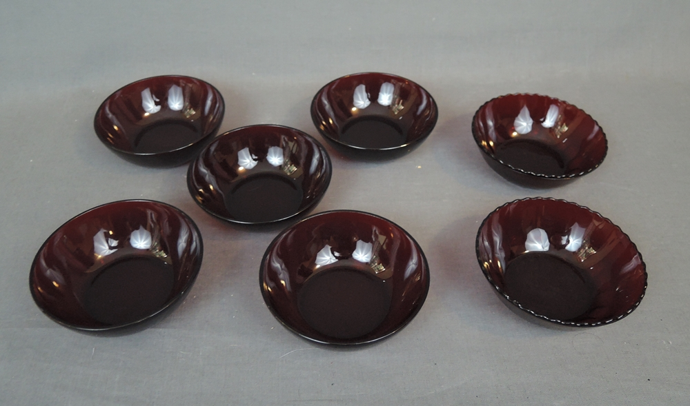 7 Vintage Ruby Glass Dessert Bowls 2 styles, Anchor Hocking Depression Glass