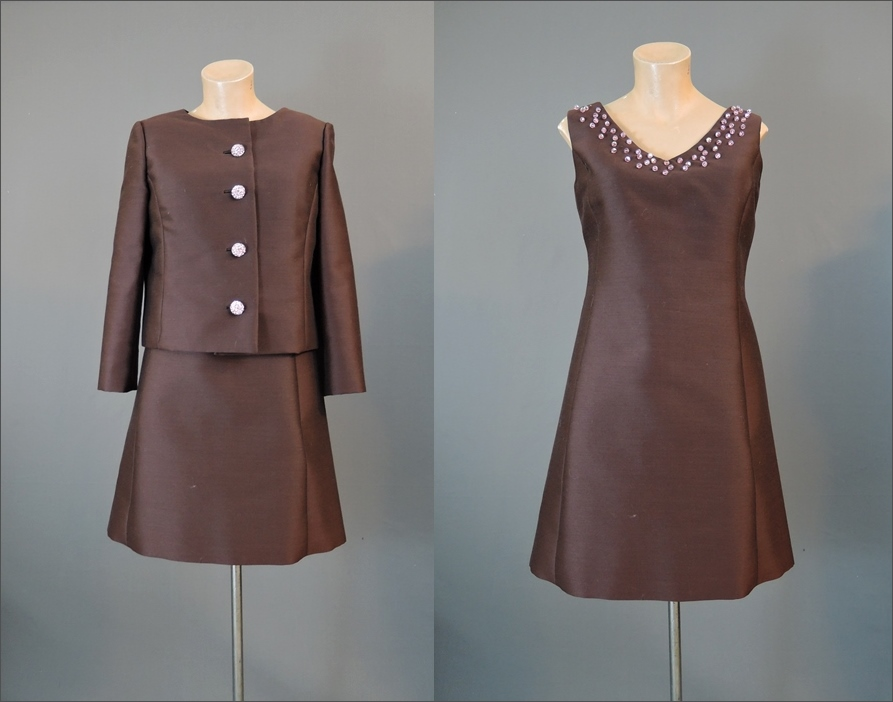 Vintage 1960s Brown Shift Dress & Jacket Set with Pink Beads and Rhinestones, 35 bust