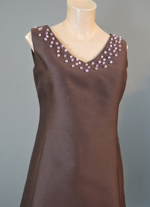 1960s Brown Shift Dress & Jacket Set with Pink Beads and Rhinestones, 35 bust