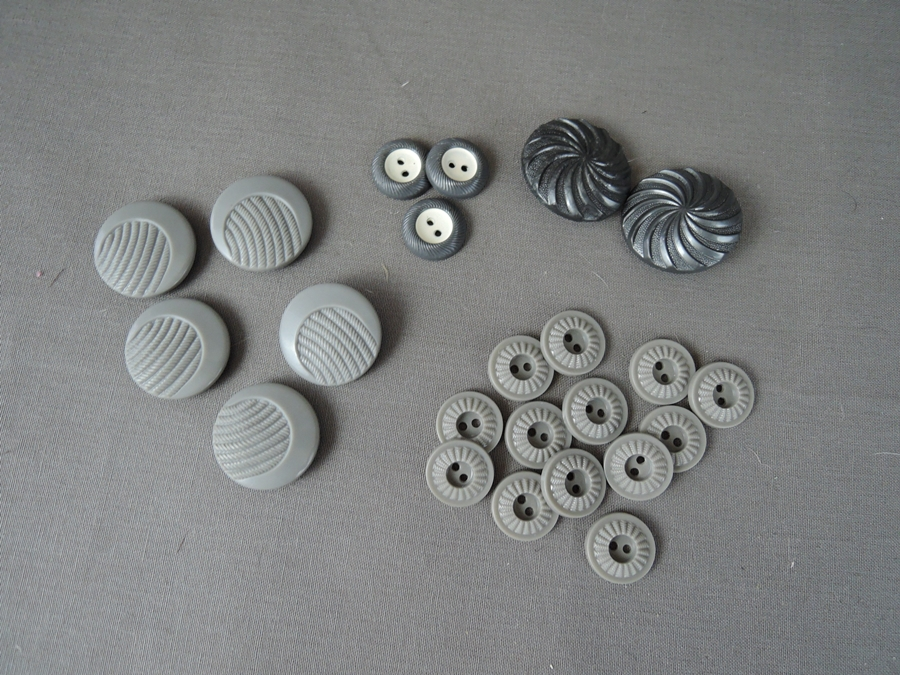Vintage Grey Buttons Lot, 1940s 1950s Plastic Dress Buttons, 4 styles