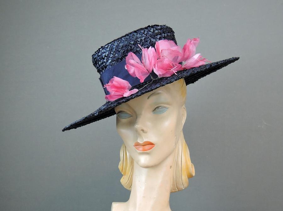 Vintage Navy Straw Hat Floral, Wide Brim, Pink Flowers, 20- 21 inch head