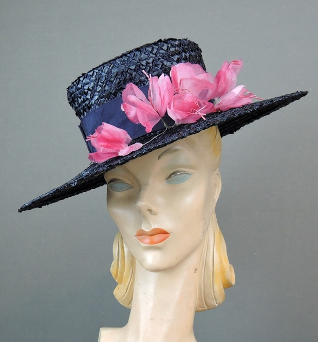 5b4e70809e158 Vintage Navy Straw Hat Floral