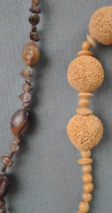 2 Vintage Necklaces Wood Look Plastic Beads, 1980s Summer, Tiki