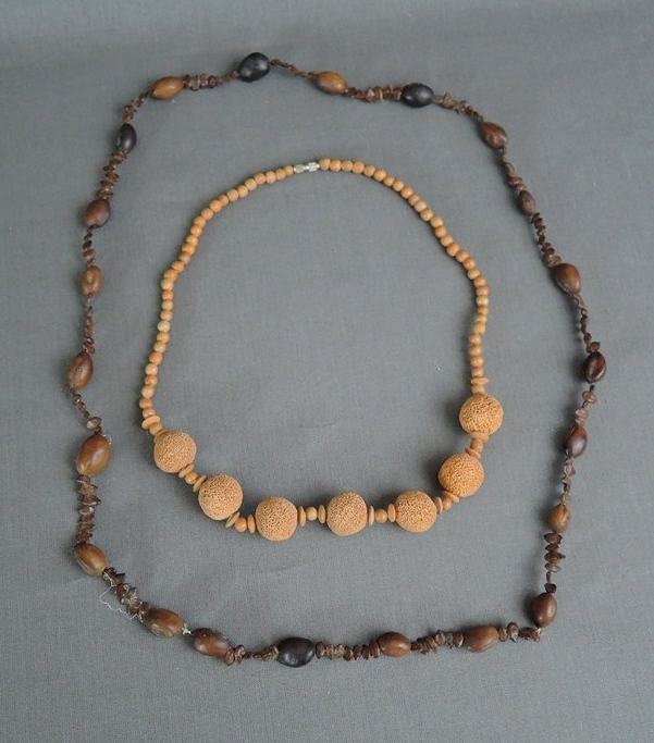 2 Vintage Necklaces Wood Look Plastic Beads, 1980s Summer, Tiki