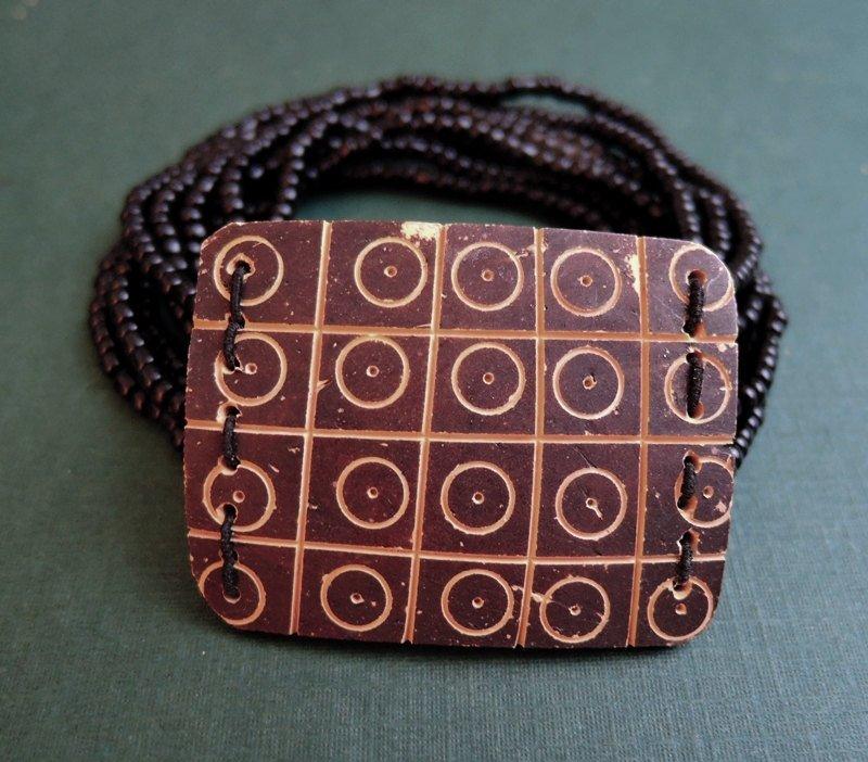 Vintage African Tribal Influence Beaded Bracelet with Carving, 1980s