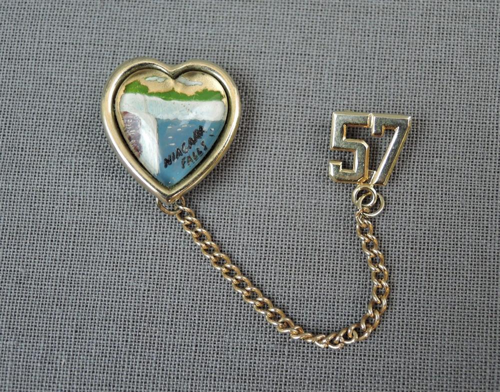 1950s Niagara Falls Scatter Pin Set, Vintage Niagara Falls Souvenir Brooch '57