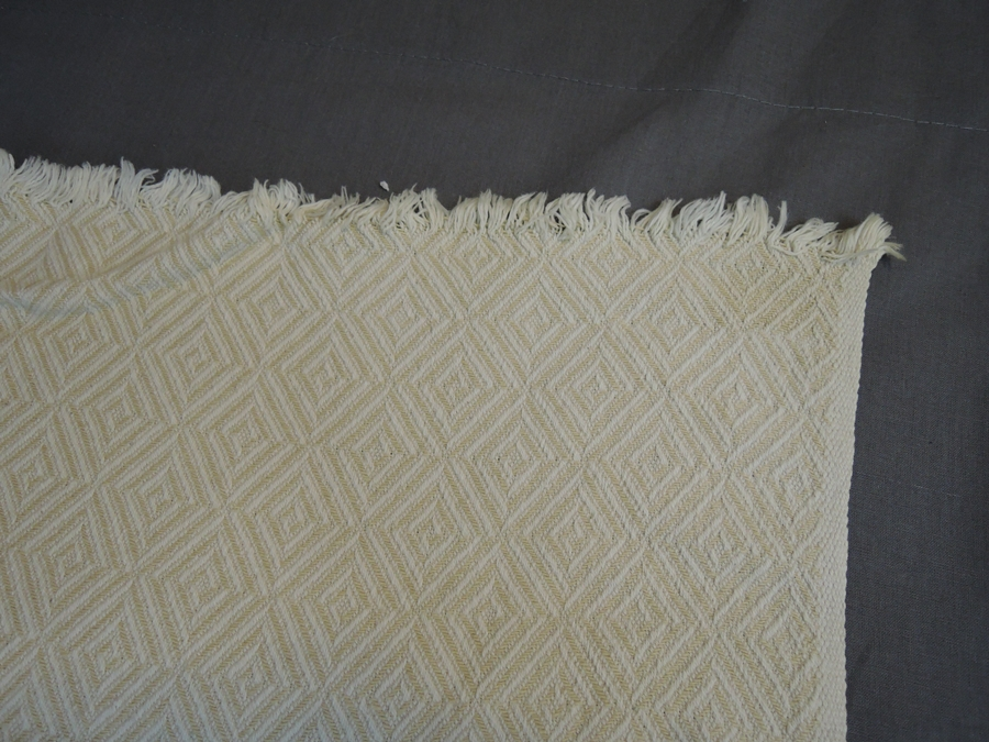 2 Vintage Double Woven Cotton Fabric Panels, Couch Throws, like Bates blanket, with issues