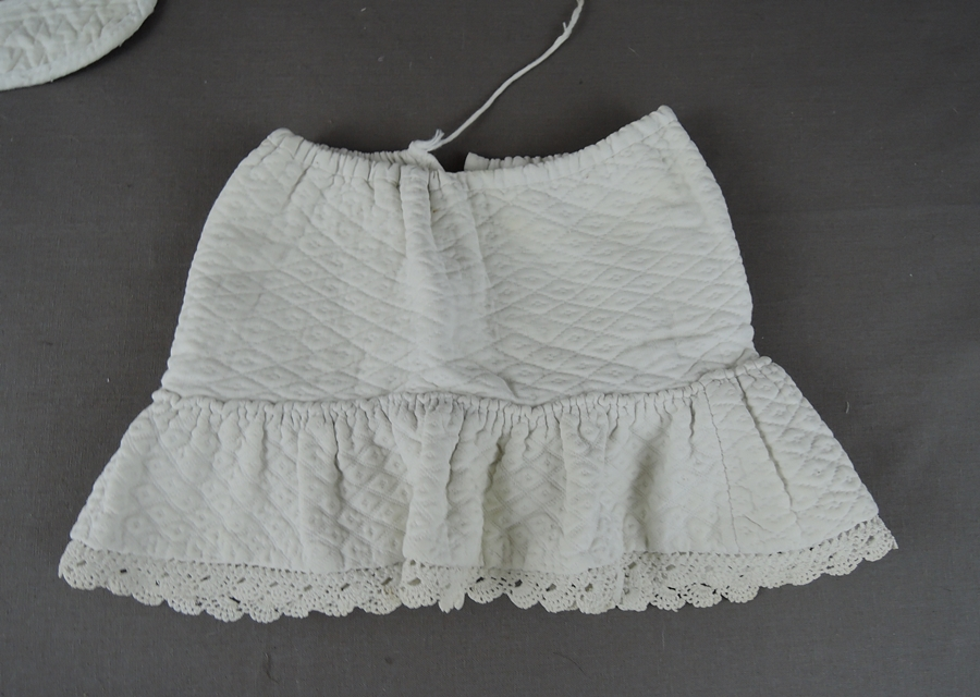 Vintage Doll Clothing, Bib & Petticoat Slip, Quilted pre 1920s Antique Handmade