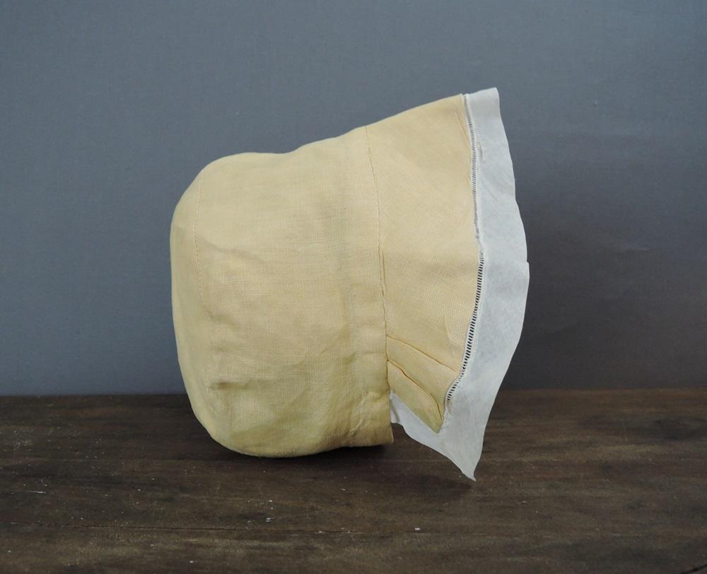 Vintage Child's Linen Bonnet, Yellow Hat with Organdy Trim, 1920s 1930s, 19 inch head